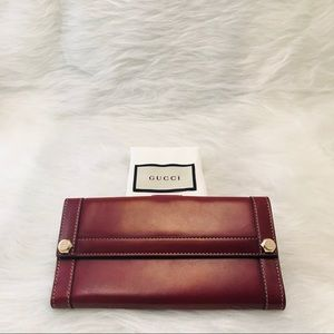 GUCCI Leather Bifold Maroon Wallet